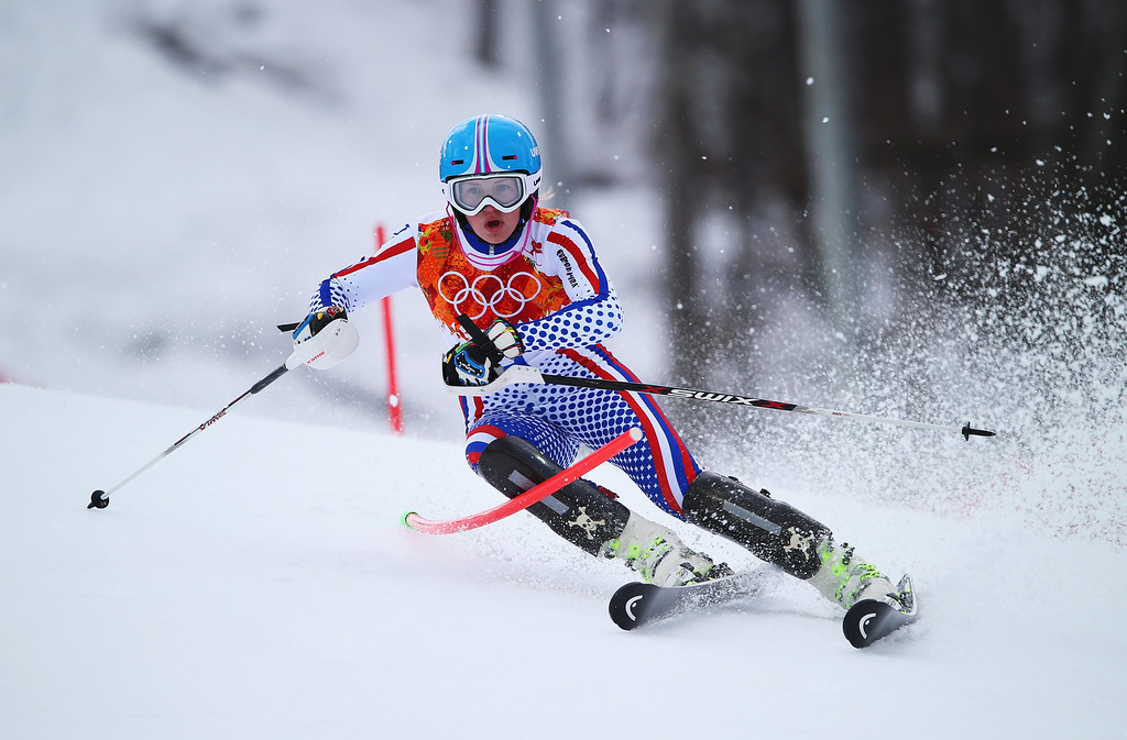 . Elena Yakovishina of Russia in action during the Alpine Skiing Women\'s Super Combined Slalom on day 3 of the Sochi 2014 Winter Olympics at Rosa Khutor Alpine Center on February 10, 2014 in Sochi, Russia.  (Photo by Clive Rose/Getty Images)