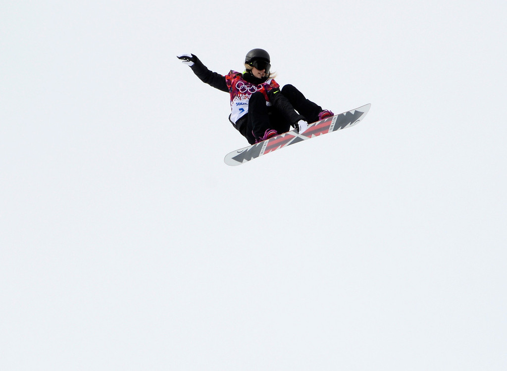 . Austria\'s Anna Gasser performs during her first run for the Ladies Slopestyle finals at the Rosa Khutor Extreme Park in Sochi, Russia, on Sunday, Feb. 9, 2014.  (Nhat V. Meyer/Bay Area News Group)