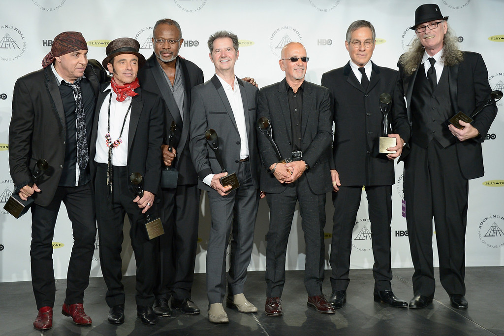 . (L-R) Inductees Steven Van Zandt, Nils Lofgren, David Sancious, Garry Tallent, Roy Bittan, Max Weinberg and Vini Lopez of the E Street Band attend the 29th Annual Rock And Roll Hall Of Fame Induction Ceremony at Barclays Center of Brooklyn on April 10, 2014 in New York City.  (Photo by Michael Loccisano/Getty Images)