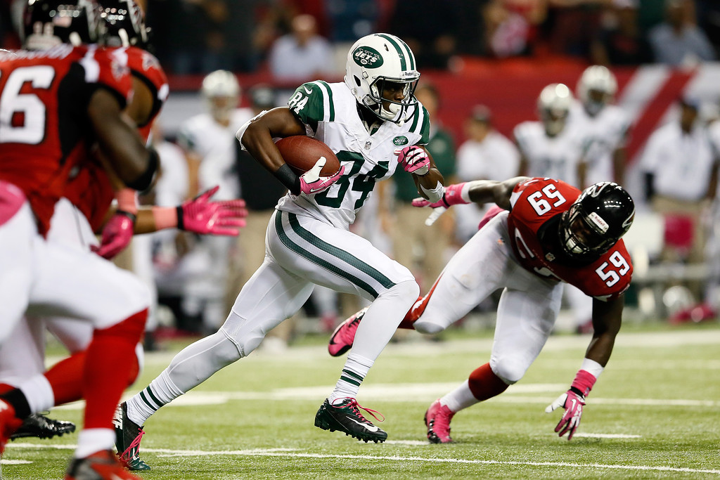. Wide receiver Stephen Hill #84 of the New York Jets makes a catch against the Atlanta Falcons during their game at the Georgia Dome on October 7, 2013 in Atlanta, Georgia.  (Photo by Kevin C. Cox/Getty Images)