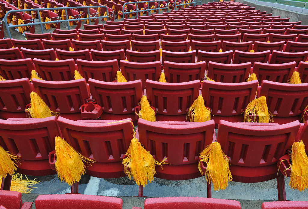 . Rain-soaked pom poms hang in the stands at the Outback Bowl before the Iowa Hawkeyes play against the LSU Tigers January 1, 2014  at Raymond James Stadium in Tampa, Florida.  (Photo by Al Messerschmidt/Getty Images)