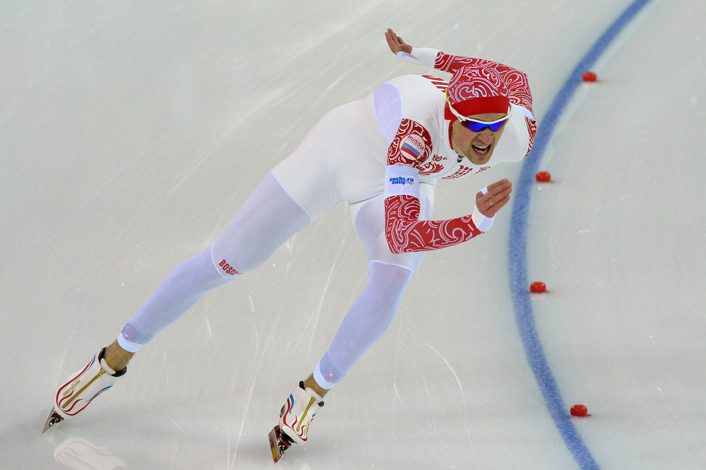 . Russia\'s Denis Yuskov competes in the Men\'s Speed Skating 1500 m at the Adler Arena during the Sochi Winter Olympics on February 15, 2014.   DAMIEN MEYER/AFP/Getty Images