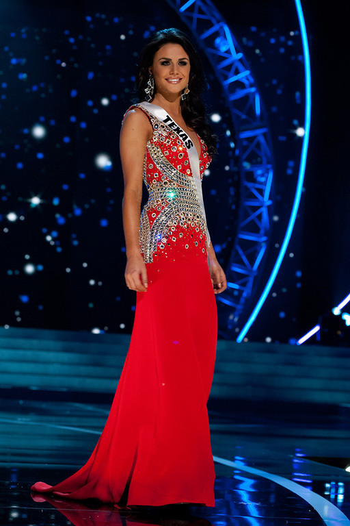 . This photo provided by the Miss Universe Organization, Miss Texas USA 2013, Ali Nugent competes in her evening gown during the 2013 Miss USA Competition Preliminary Show  in Las Vegas  on Wednesday June 12, 2013.  She will compete for the title of Miss USA 2013 and the coveted Miss USA Diamond Nexus Crown on June 16, 2013.  (AP Photo/Miss Universe Organization, Patrick Prather)