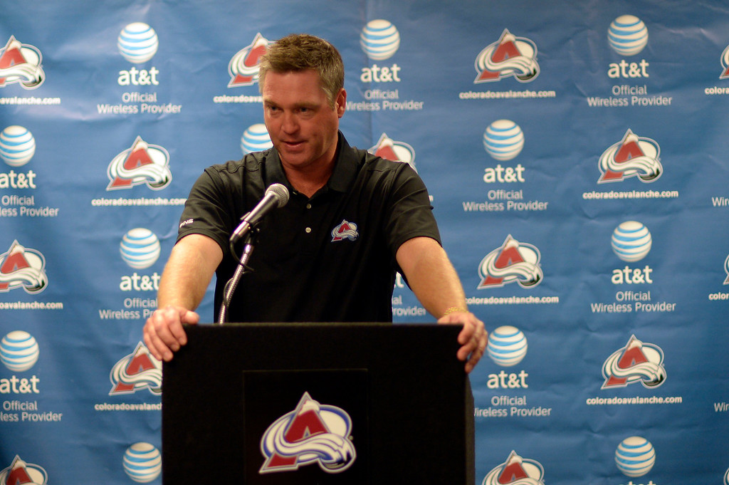 . DENVER, CO - SEPTEMBER 11: Colorado Avalanche Head Coach Patrick Roy addresses the Media during his press conference at Pepsi Center. Avalanche players took their physicals at Pepsi Center September 11, 2013 as they will open their camp on September 12, 2013 at Family Sports. (Photo by John Leyba/The Denver Post)