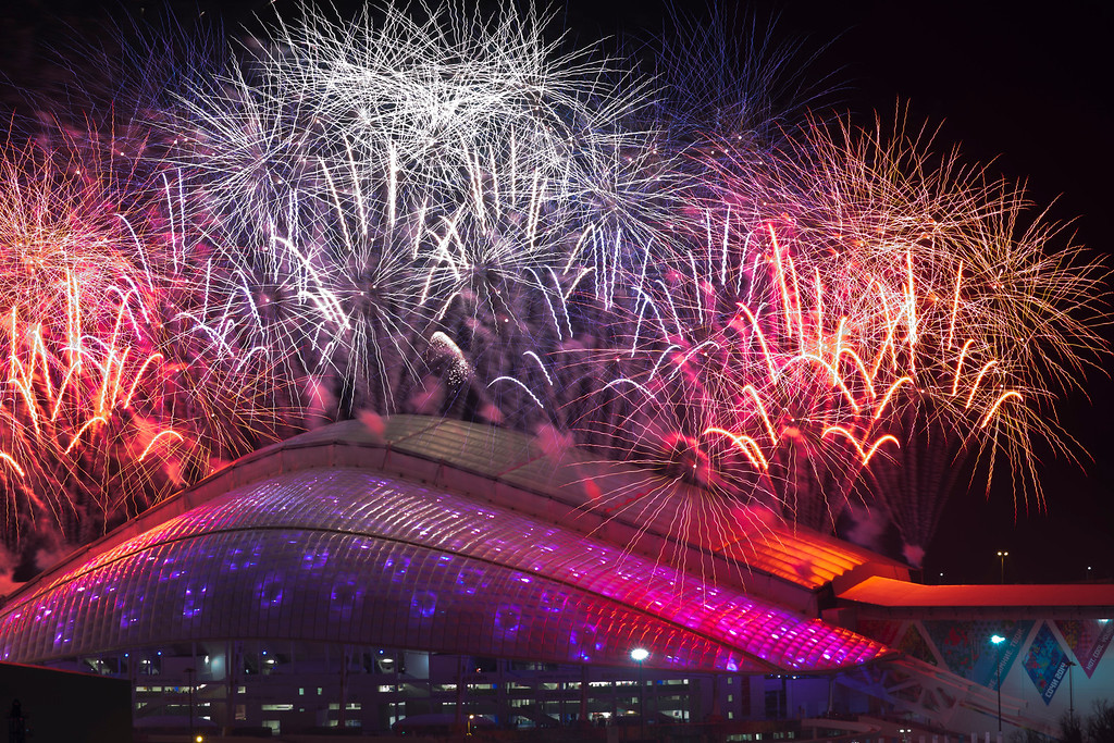 . Fireworks explode over Fisht Olympic Stadium at the end of the opening ceremony for the 2014 Winter Olympics in Sochi, Russia, Friday, Feb. 7, 2014. (AP Photo/Pavel Golovkin)