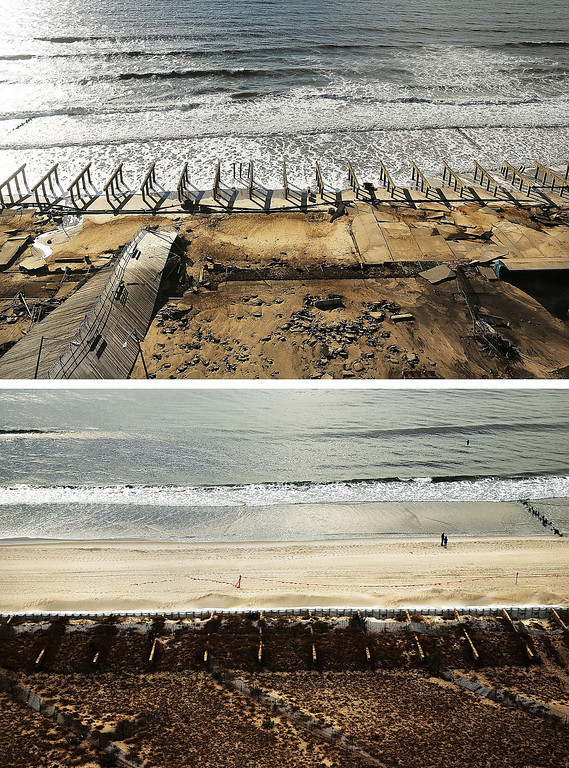 . NEW YORK, NY - OCTOBER 31: (top) The foundations to the historic Rockaway boardwalk are all that remain after it was washed away during Hurricane Sandy on October 31, 2012 in the Rockaway neighborhood of the Queens borough of New York City.  NEW YORK, NY - OCTOBER 20: (bottom) Two people stand on the beach on October 20, 2013 in the Rockaway neighborhood of the Queens borough of New York City. Hurricane Sandy made landfall on October 29, 2012 near Brigantine, New Jersey and affected 24 states from Florida to Maine and cost the country an estimated $65 billion.  (Photos by Spencer Platt/Getty Images)