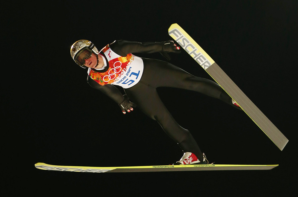 . homas Morgenstern of Austria in a trial jump on the large hill at the RusSki Gorki Ski Jumping Center at the Sochi 2014 Olympic Games, Krasnaya Polyana, Russia, 14 February 2014.  EPA/DANIEL KARMANN