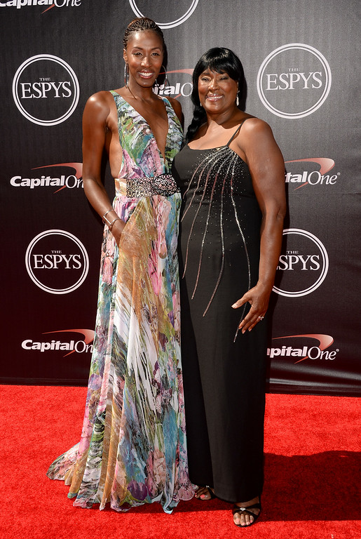 . LOS ANGELES, CA - JULY 16:  Former WNBA player Lisa Leslie (L) with mother Christine Leslie attends The 2014 ESPYS at Nokia Theatre L.A. Live on July 16, 2014 in Los Angeles, California.  (Photo by Jason Merritt/Getty Images)