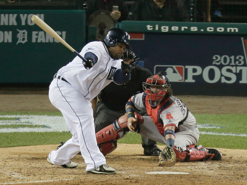 . Detroit Tigers\' Prince Fielder stikes out to end the eighth inning during Game 3 of the American League baseball championship series against the Boston Red Sox Tuesday, Oct. 15, 2013, in Detroit. (AP Photo/Charlie Riedel)