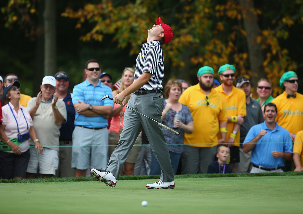 . DUBLIN, OH - OCTOBER 04: Jordan Spieth of the USA reacts after missing a putt on the 7th hole during the Day Two Foursome Matches at the Muirfield Village Golf Club on October 4, 2013 in Dublin, Ohio. (Photo by Andy Lyons/Getty Images)