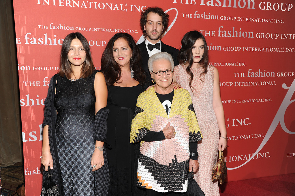 ". From left, Margherita Missoni, designer Angela Missoni, Francesco Missoni, Rosita Missoni, front, Jennifer Missoni attend the Fashion Group International\'s 30th annual ""Night Of Stars\"" awards gala at Cipriani\'s Wall Street on Tuesday, Oct. 22, 2013, in New York. (Photo by Evan Agostini/Invision/AP)"