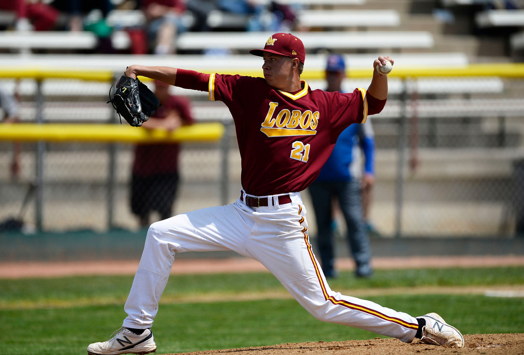 . DENVER, CO. - MAY 23: Rocky Mountain starting pitcher, Marc Bachman, against Cherry Creek during the Colorado State 5A baseball playoffs at All City Field Friday afternoon, May 23, 2014. Rocky Mountain won 8-6. (Photo By Andy Cross / The Denver Post)