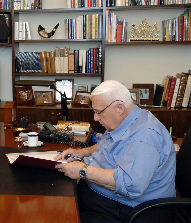. A file handout picture dated 20 December 2005 and supplied by the Israeli Government Press Office shows then Israeli Prime Minister Ariel Sharon reviewing papers in his office in his residence in Jerusalem, Israel, shortly after he was released from Hadassah Ein Kerem Hospital.  EPA/AVI OHAYON/GPO