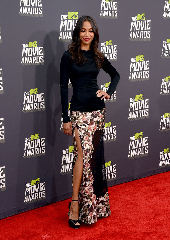 . Actress Zoe Saldana arrives at the 2013 MTV Movie Awards at Sony Pictures Studios on April 14, 2013 in Culver City, California.  (Photo by Jason Merritt/Getty Images)