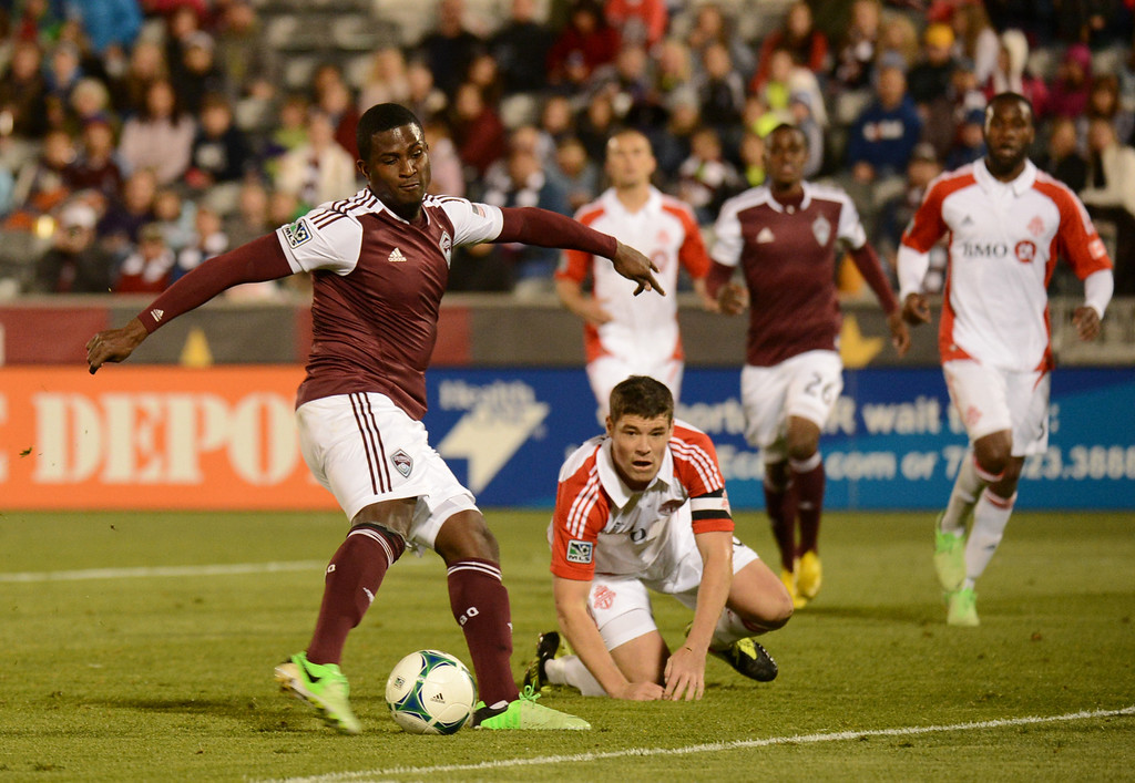 . COMMERCE CITY, CO. - MAY 04 : Edson Buddle #9, of Colorado Rapids scores the winning goal of the game against Toronto FC in the 2nd half at Dick\'s Sporting Goods Park in Commerce City, Colorado. May 4, 2013. Colorado won 1-0. (Photo By Hyoung Chang/The Denver Post)