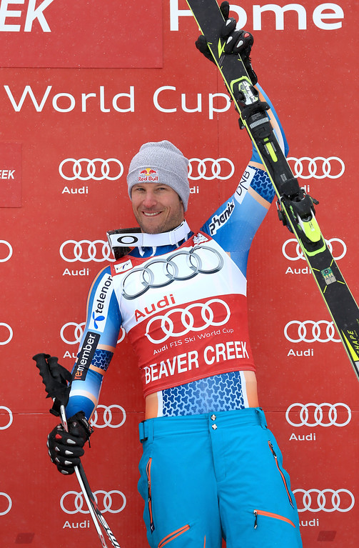 . Aksel Lund Svindal reacts after winning the men\'s downhill race for the Birds of Prey Audi FIS Ski World Cup on December 6, 2013 in Beaver Creek, Colorado.  (Photo by Doug Pensinger/Getty Images)