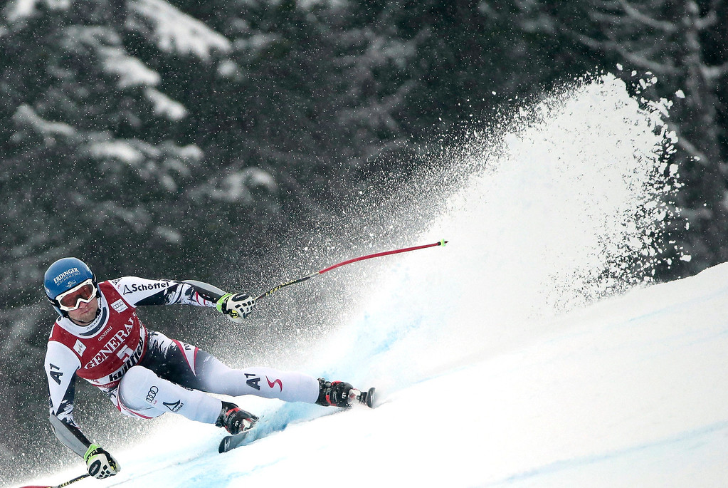 . Austria\'s Romed Baumann competes during the men\'s Super-G at the FIS Ski World Cup on March 2, 2014 in Kvitfjell, Norway. Norway\'s Kjetil Jansrud won, Swiss Patrick Kueng placed 2nd and Austria\'s Matthias Mayer placed 3rd in the event.  DANIEL SANNUM LAUTEN/AFP/Getty Images