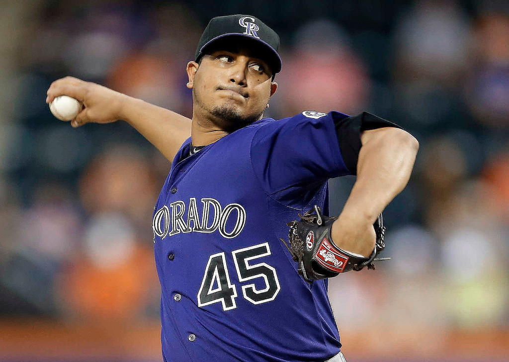 . Colorado Rockies\' Jhoulys Chacin delivers a pitch during the first inning of a baseball game against the New York Mets on Wednesday, Aug. 7, 2013, in New York. (AP Photo/Frank Franklin II)