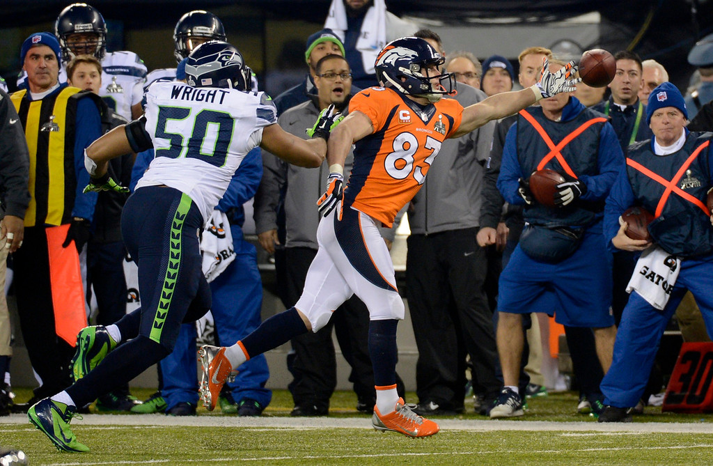 . Denver Broncos wide receiver Wes Welker (83) can\'t get to the ball during the third quarter. The Denver Broncos vs the Seattle Seahawks in Super Bowl XLVIII at MetLife Stadium in East Rutherford, New Jersey Sunday, February 2, 2014. (Photo by Joe Amon/The Denver Post)