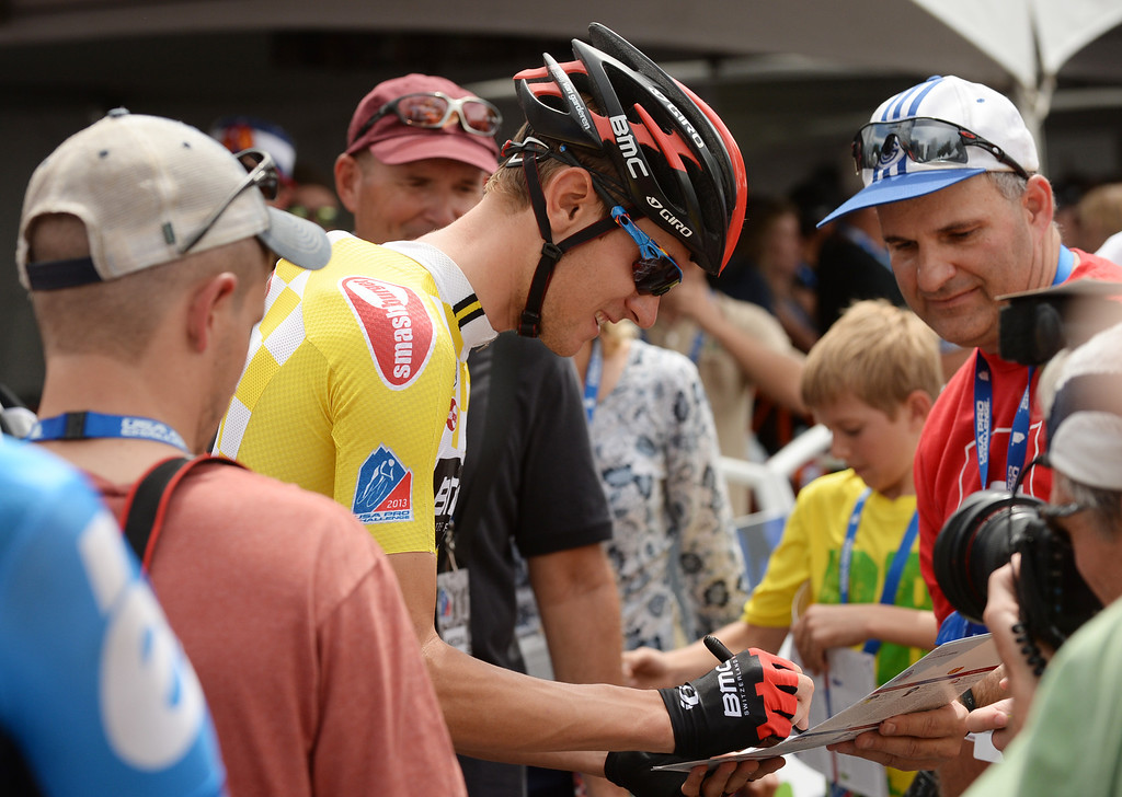 . Tejay Van Garderen of the BMC Racing Team signs autographs for the fans before the 2013 USA Pro Challenge race in Denver, Colorado on August 25, 2013. (Photo by Hyoung Chang/The Denver Post)