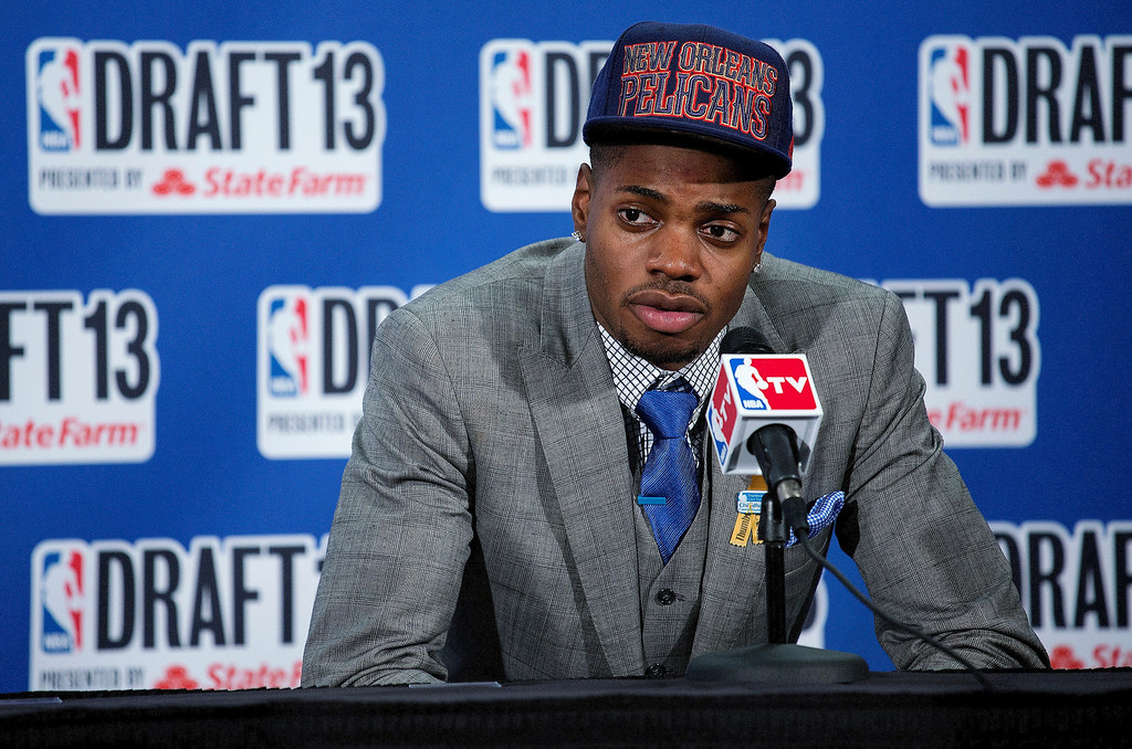 . Kentucky\'s Nerlens Noel, picked by the New Orleans Pelicans in the first round of the NBA basketball draft, speaks during a news conference Thursday, June 27, 2013, in New York. (AP Photo/Craig Ruttle)