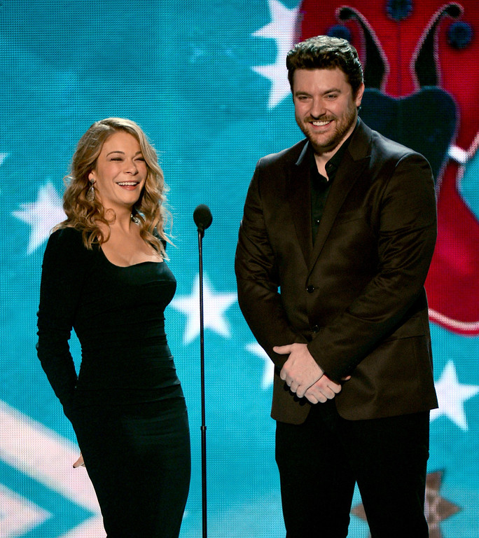 . LAS VEGAS, NV - DECEMBER 10:  Presenters LeAnn Rimes and Chris Young speak onstage during the 2012 American Country Awards at the Mandalay Bay Events Center on December 10, 2012 in Las Vegas, Nevada.  (Photo by Mark Davis/Getty Images)