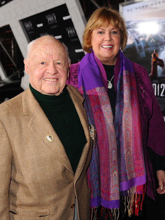 """. Actor Mickey Rooney and wife Jan Rooney arrive at the premiere of Columbia Pictures\' \""""2012\"""" at the Regal Cinemas LA live on November 3, 2009 in Los Angeles, California.  (Photo by Alberto E. Rodriguez/Getty Images)"""