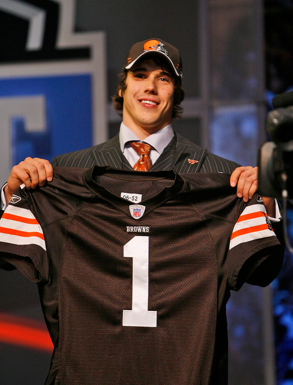 . Brady Quinn, Notre Dame Selected 22nd overall by the Browns in 2007 Quinn,  whose surprising slide down the first round in 2007 was the story of the draft, has struggled during his time in the NFL. In 20 starts, Quinn has amassed a 4-16 record, has thrown 12 touchdowns and 17 interceptions, and his career QB rating is a pedestrian 64.4. GRADE: F. Will continue to get shots in the NFL, and will likely continue to disappoint. (AP Photo/Jason DeCrow)