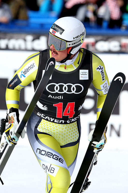 . Kjetil Jansrud #14 of Norway leaves the finish area during the men\'s downhill on the Birds of Prey at the Audi FIS World Cup on November 30, 2012 in Beaver Creek, Colorado.  (Photo by Matthew Stockman/Getty Images)