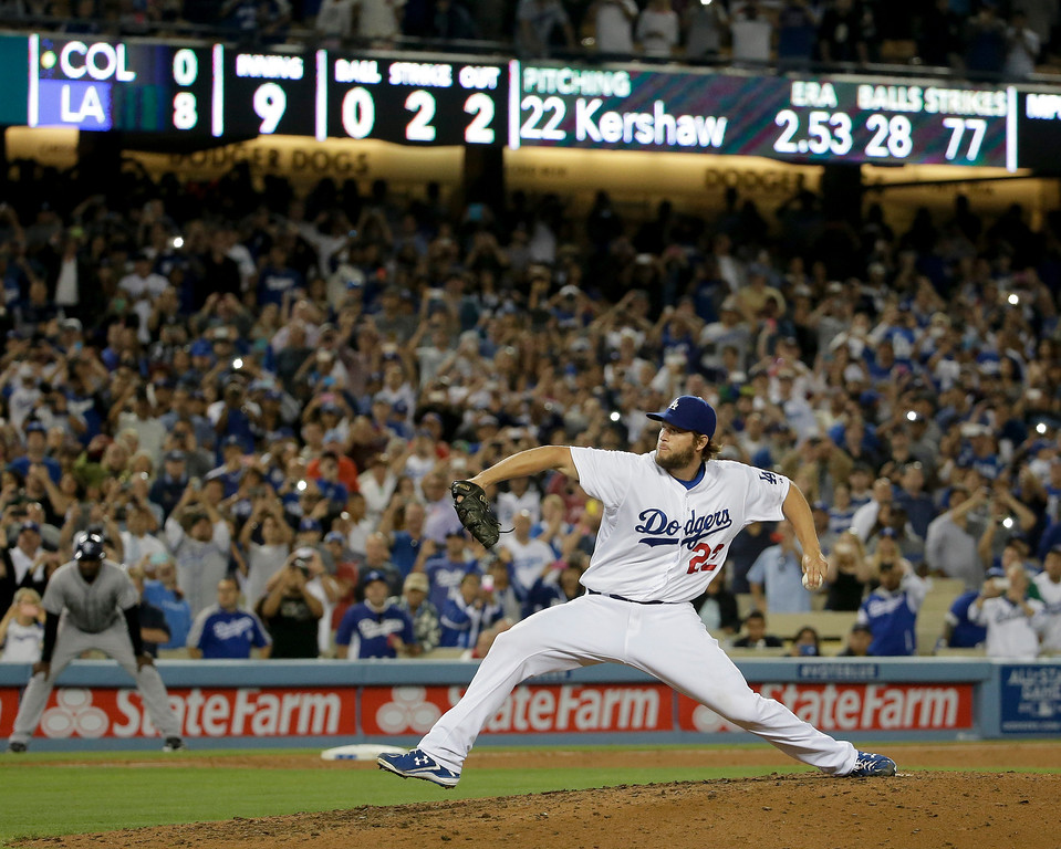 . Los Angeles Dodgers starting pitcher Clayton Kershaw completes his no-hitter against the Colorado Rockies during ninth inning of a baseball game in Los Angeles, Wednesday, June 18, 2014. (AP Photo/Chris Carlson)