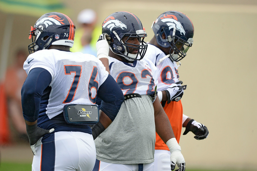 . Denver Broncos defensive tackle Sylvester Williams (92) gets ready for drills on day seven of the Denver Broncos 2014 training camp July 31, 2014 at Dove Valley. (Photo by John Leyba/The Denver Post)