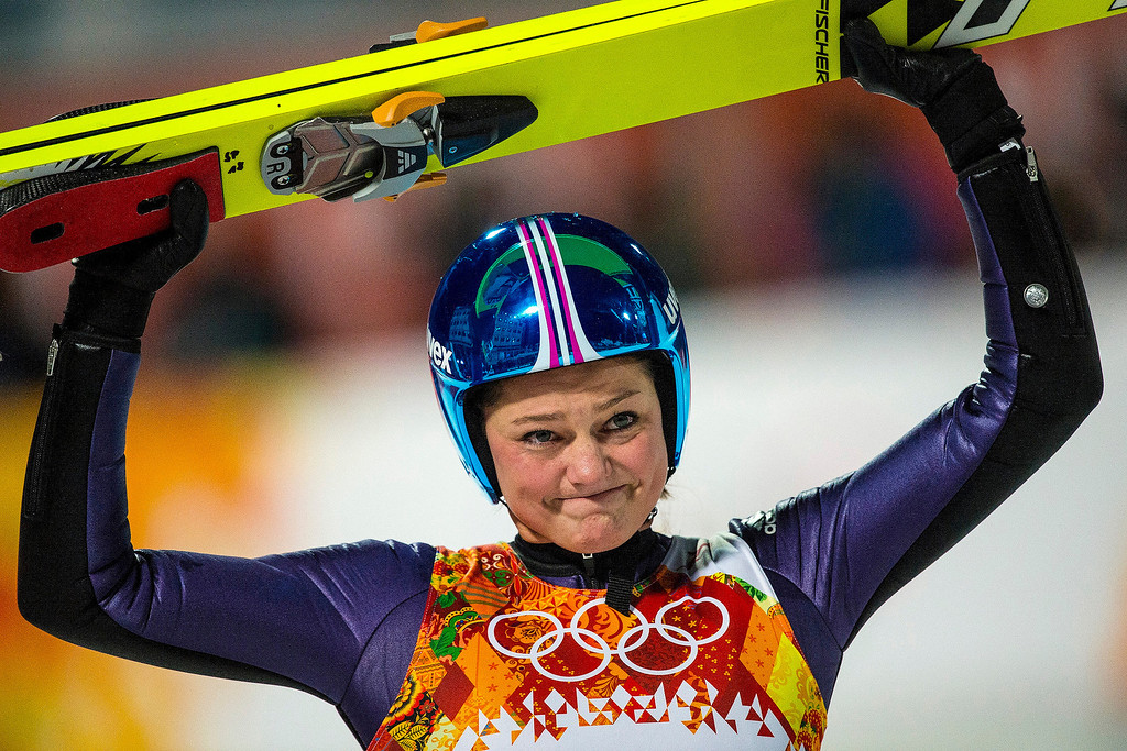. Germany\'s Carina Vogt celebrates after winning the women\'s ski jumping competition at the Gorki Ski Jumping Center during the 2014 Sochi Olympic Games Tuesday February 11, 2014. Vogt won the gold medal with a 247.4.