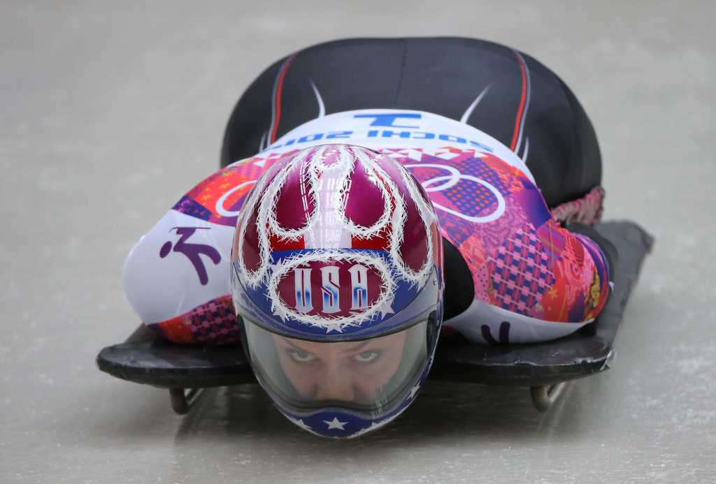 . Noelle Pikus-Pace of USA competes in Heat 4 in the women\'s Skeleton competition at the Sanki Sliding Center at the Sochi 2014 Olympic Games, Krasnaya Polyana, Russia, 14 February 2014.  EPA/FREDRIK VON ERICHSEN