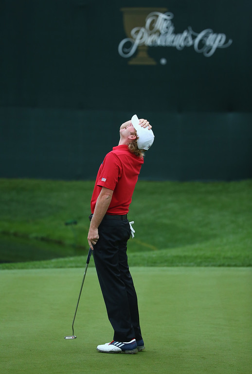 . DUBLIN, OH - OCTOBER 05:  Brandt Snedeker of the U.S. Team reacts to a missed putt on the15th green during the weather delayed Day Two Foursome Matches at the Muirfield Village Golf Club on October 5, 2013  in Dublin, Ohio.  (Photo by Andy Lyons/Getty Images)