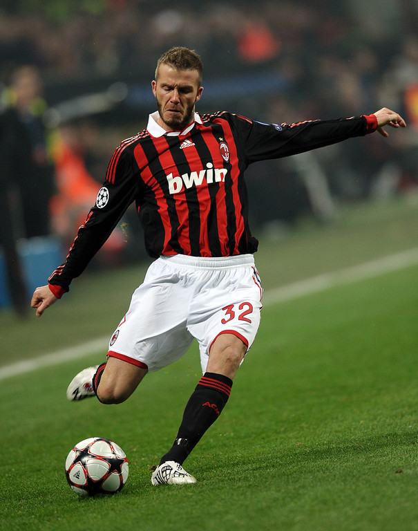 . In this file picture taken on February 16, 2010 AC Milan\'s English midfielder David Beckham takes a free kick against Manchester United during their UEFA Champions League round of 16 match at San Siro stadium in Milan.  PAUL ELLIS/AFP/Getty Images