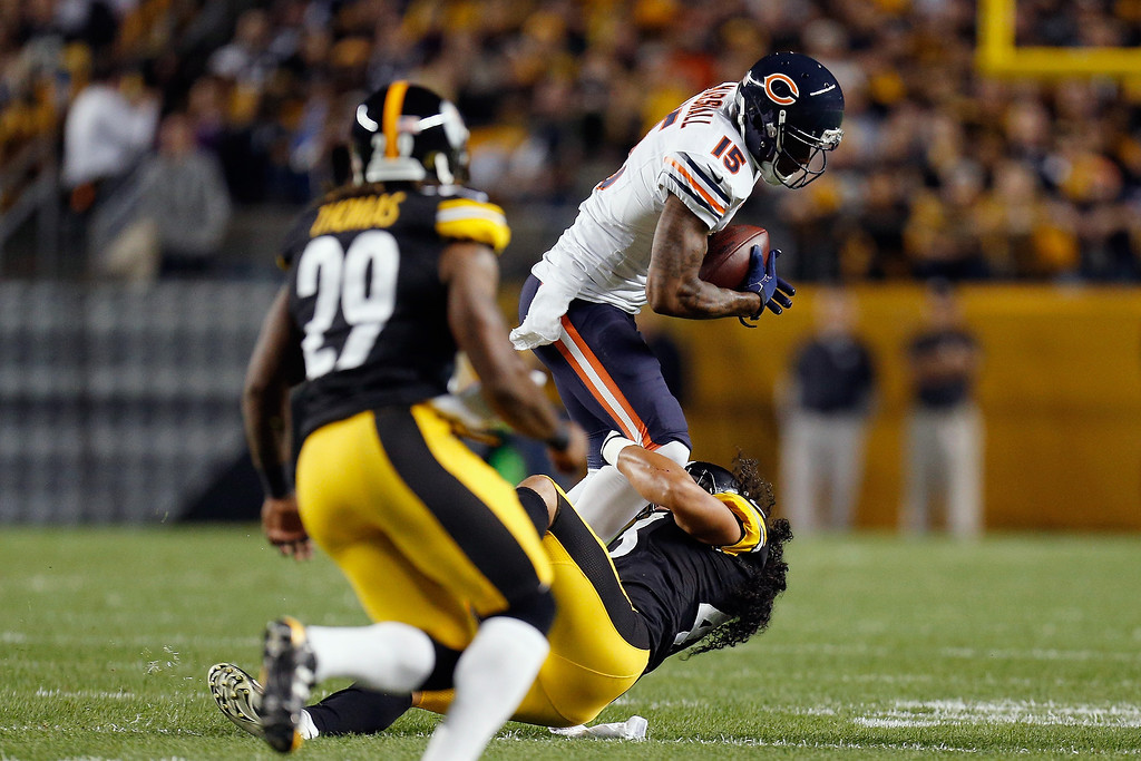 . Brandon Marshall #15 of the Chicago Bears catches a pass during a game against the Pittsburgh Steelers at Heinz Field on September 22, 2013 in Pittsburgh, Pennsylvania.  (Photo by Gregory Shamus/Getty Images)