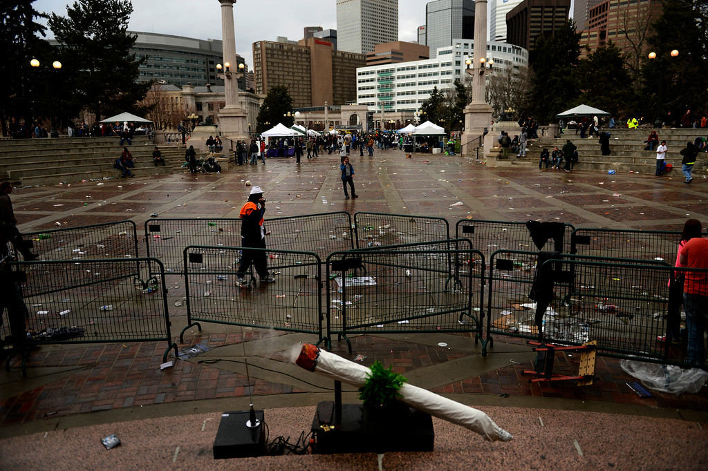 . DENVER, CO. - APRIL 20: April 20: The grounds are near empty at Civic Center Park in Denver Colorado, Saturday April 20th, 2013 after the 4/20 pot rally. Two people were shot during Saturday\'s annual 4/20 marijuana rally, held on a day cannabis enthusiasts regard as a holiday called 4/20 that drew tens of thousands to Denver\'s Civic Center park. This is the first 4/20 marijuana rally since Colorado voters legalized marijuana use for people 21 and older in November. April 20, 2013 Denver, Colorado. (Photo By Joe Amon/The Denver Post)
