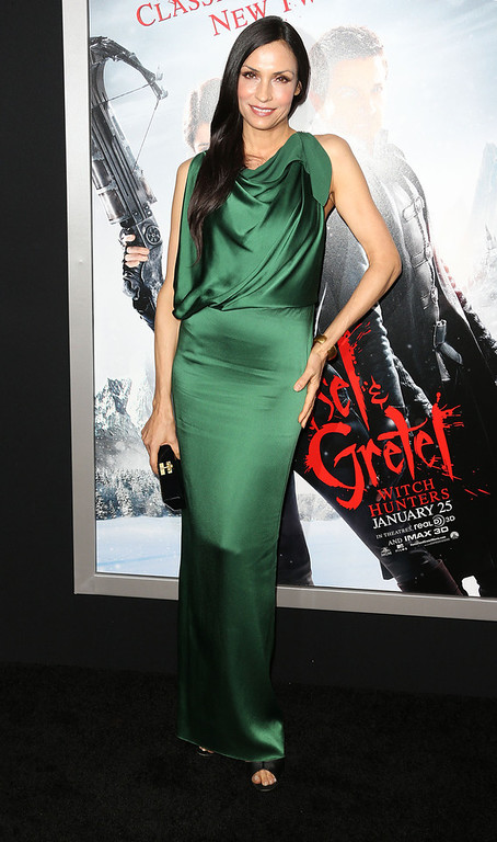 ". Actress Famke Janssen attends the Premiere of Paramount Pictures\' ""Hansel And Gretel Witch Hunters\"" at the TCL Chinese Theatre on January 24, 2013 in Hollywood, California.  (Photo by Frederick M. Brown/Getty Images)"