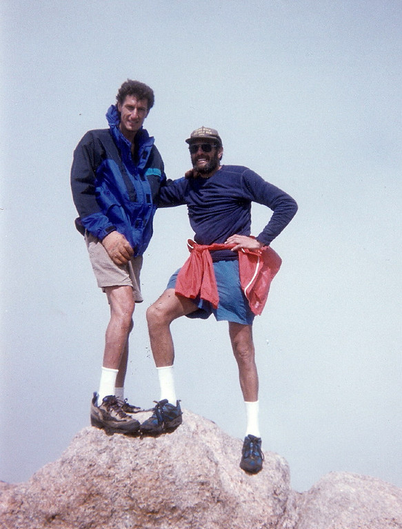 . Rick Trujillo 1995-- Ricky Denesik and Rick Trujillo at the Longs Peak summit, the last summit of the then new CO 14rs speed record effort-- 15d9h55m_ 24Aug1995_1 Photo provided by Rick Trujillo