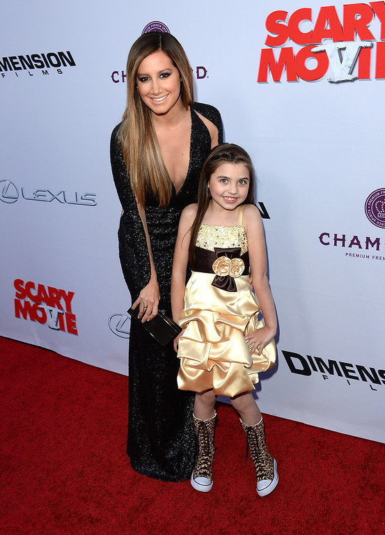 """. Actresses Ashley Tisdale (L) and Gracie Whitton arrive at the Dimension Films\' \""""Scary Movie 5\"""" premiere at the ArcLight Cinemas Cinerama Dome on April 11, 2013 in Hollywood, California.  (Photo by Jason Merritt/Getty Images)"""