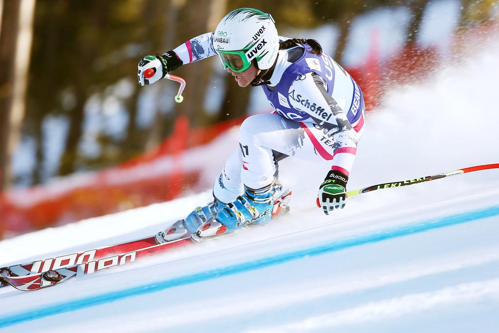 . Austria\'s Stefanie Koehle heads down course during the women\'s World Cup super-G skiing event, in Beaver Creek, Colo., Saturday, Nov. 30, 2013. (AP Photo/Allesandro Trovati)