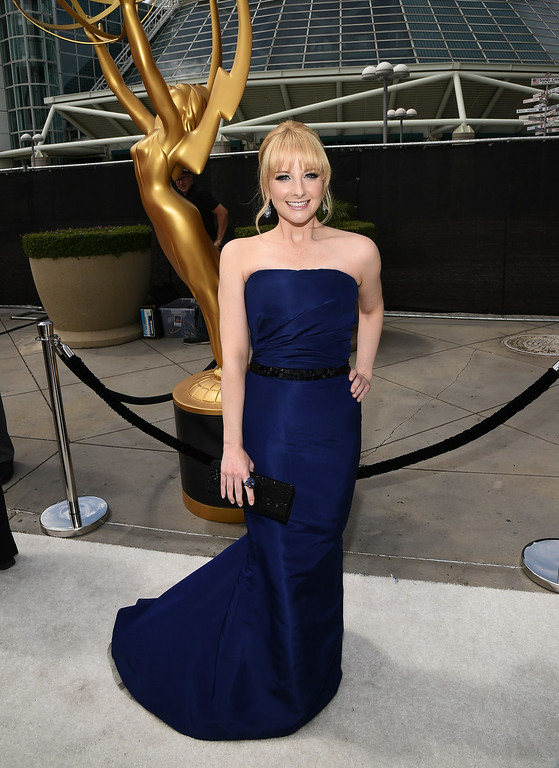 . Actress Melissa Rauch attends the 66th Annual Primetime Emmy Awards held at Nokia Theatre L.A. Live on August 25, 2014 in Los Angeles, California.  (Photo by Michael Buckner/Getty Images)