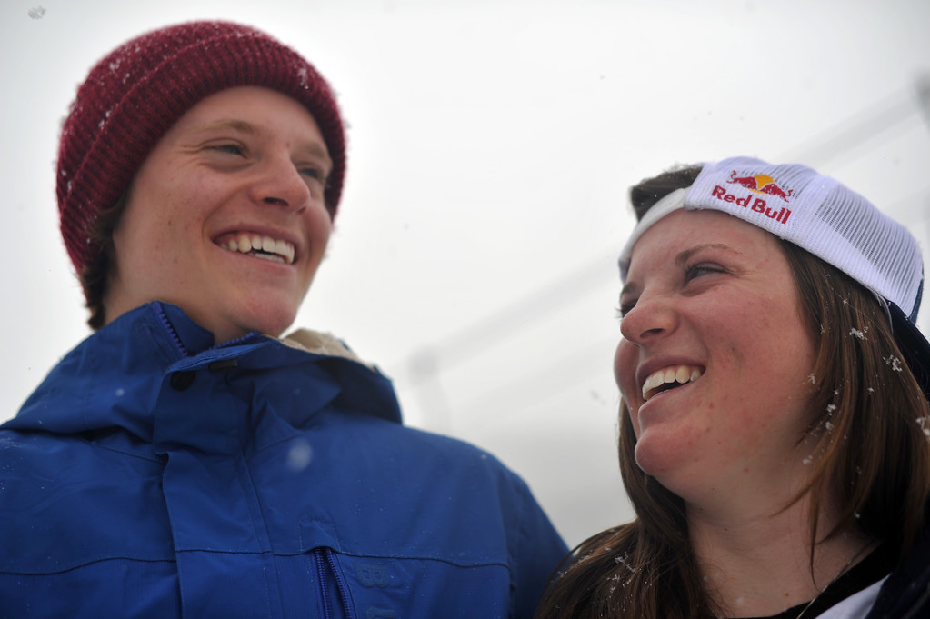 . VAIL, CO. - MARCH 1: Taylor Gold, 17, left, and his sister Arielle Gold, 16, of Steamboat Springs are in Vail for Burton U.S. Open. March 1, 2013. Vail, Colorado. (Photo By Hyoung Chang/The Denver Post)