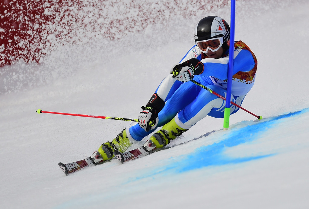 . Italy\'s Roberto Nani competes during the Men\'s Alpine Skiing Giant Slalom Run 1 at the Rosa Khutor Alpine Center during the Sochi Winter Olympics on February 19, 2014.  AFP PHOTO / FABRICE COFFRINI  /AFP/Getty Images