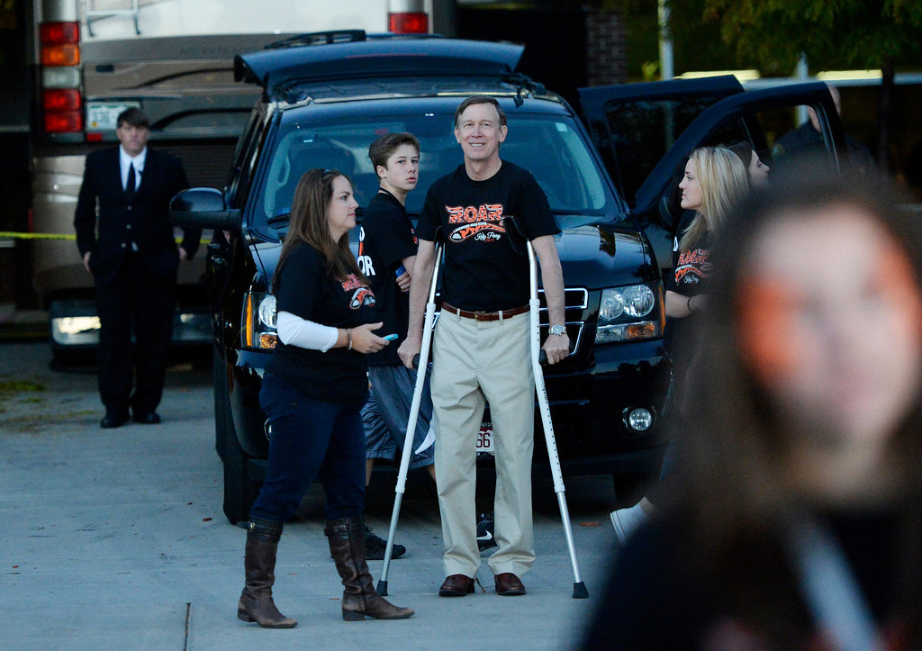 . Colorado Governor John Hickenlooper leaves the Katy Perry concert at Lakewood High School, October 25, 2013. About 2,700 students and faculty attended the concert. (Photo By RJ Sangosti/The Denver Post)