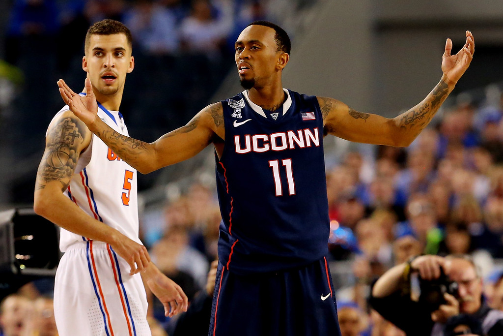 . ARLINGTON, TX - APRIL 05:  Ryan Boatright #11 of the Connecticut Huskies reacts during the NCAA Men\'s Final Four Semifinal against the Florida Gators at AT&T Stadium on April 5, 2014 in Arlington, Texas.  (Photo by Ronald Martinez/Getty Images)