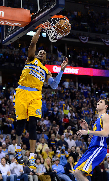 . DENVER, CO. - APRIL 23: Denver Nuggets shooting guard Andre Iguodala (9) dunks the ball in the third quarter. The Denver Nuggets took on the Golden State Warriors in Game 2 of the Western Conference First Round Series at the Pepsi Center in Denver, Colo. on April 23, 2013. (Photo by AAron Ontiveroz/The Denver Post)
