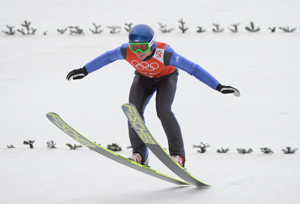. Russia\'s Ivan Panin competes in the Nordic Combined Individual NH / 10 km Ski Jumping official training at the RusSki Gorki Jumping Center during the Sochi Winter Olympics on February 17, 2014, in Rosa Khutor, near Sochi. AFP PHOTO / PETER  PARKS/AFP/Getty Images