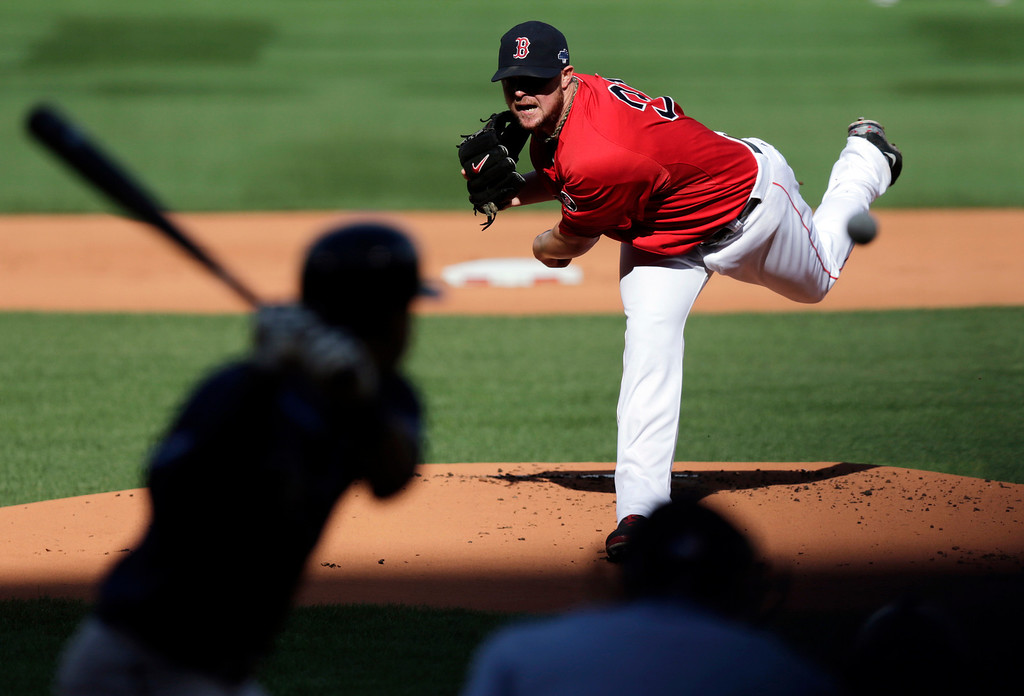 . Boston Red Sox starting pitcher Jon Lester delivers against the Tampa Bay Rays in the first inning in Game 1 of baseball\'s American League division series, Friday, Oct. 4, 2013, in Boston. (AP Photo/Charles Krupa)