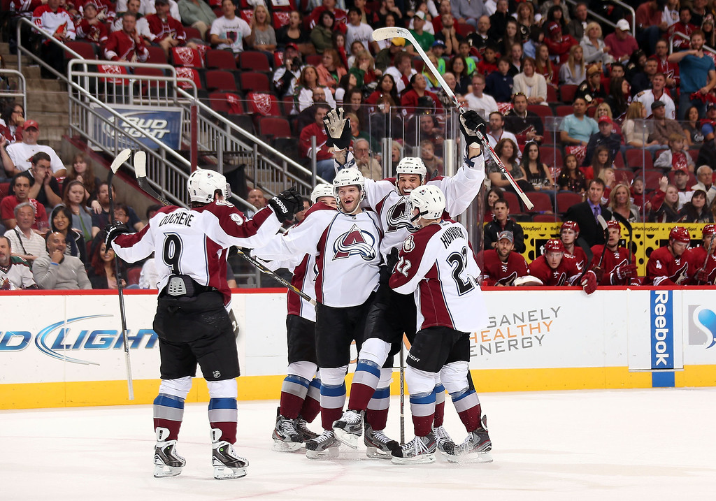 . GLENDALE, AZ - APRIL 26:  (L-R) Matt Duchene #9, Shane O\'Brien #5, Tomas Vincour #24, Patrick Bordeleau #58 and Matt Hunwick #22 of the Colorado Avalanche celebrate after Bordeleau scored a first period goal against the Phoenix Coyotes during the NHL game at Jobing.com Arena on April 26, 2013 in Glendale, Arizona.  (Photo by Christian Petersen/Getty Images)